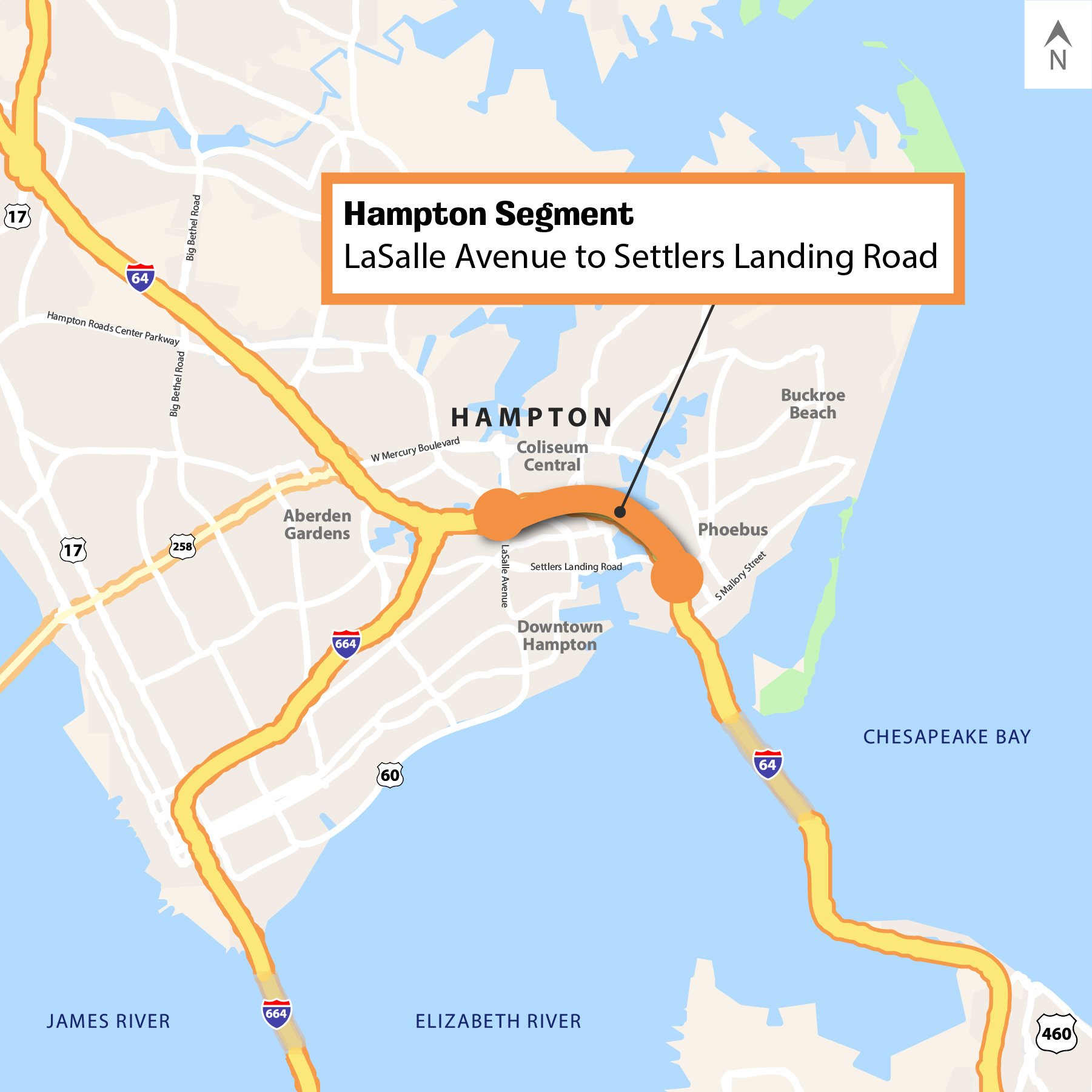 Map showing Segment 4C: Hampton Segment - LaSalle Avenue to Settlers Landing Road